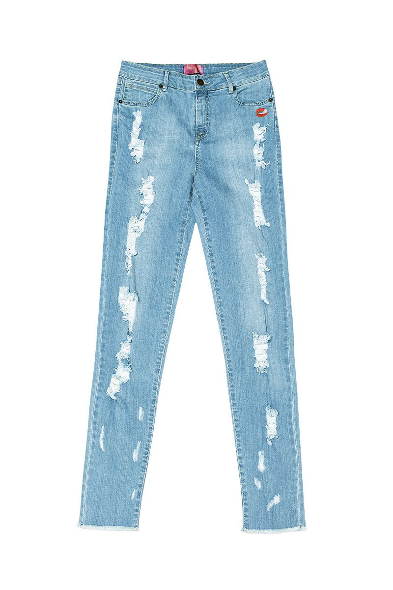 Arizona Distressed Skinny Blue Jeans