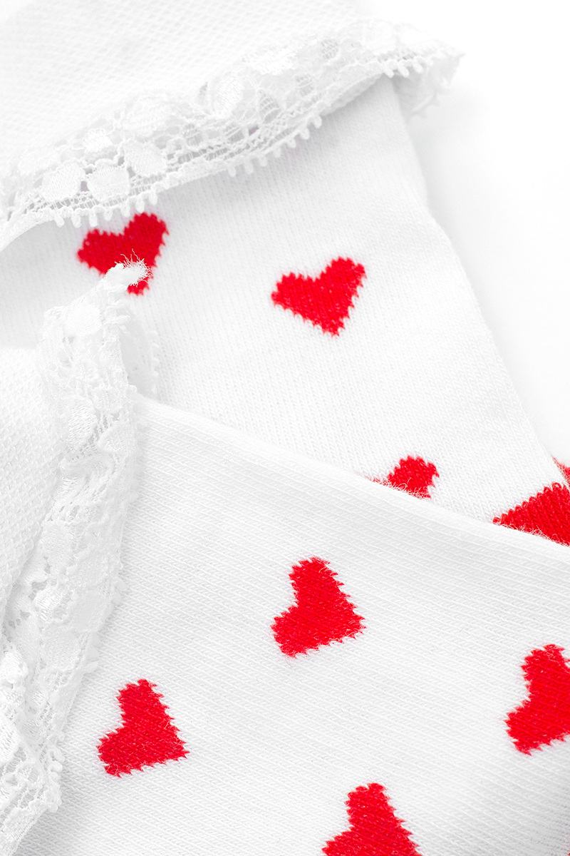 Hearts Lace White Socks
