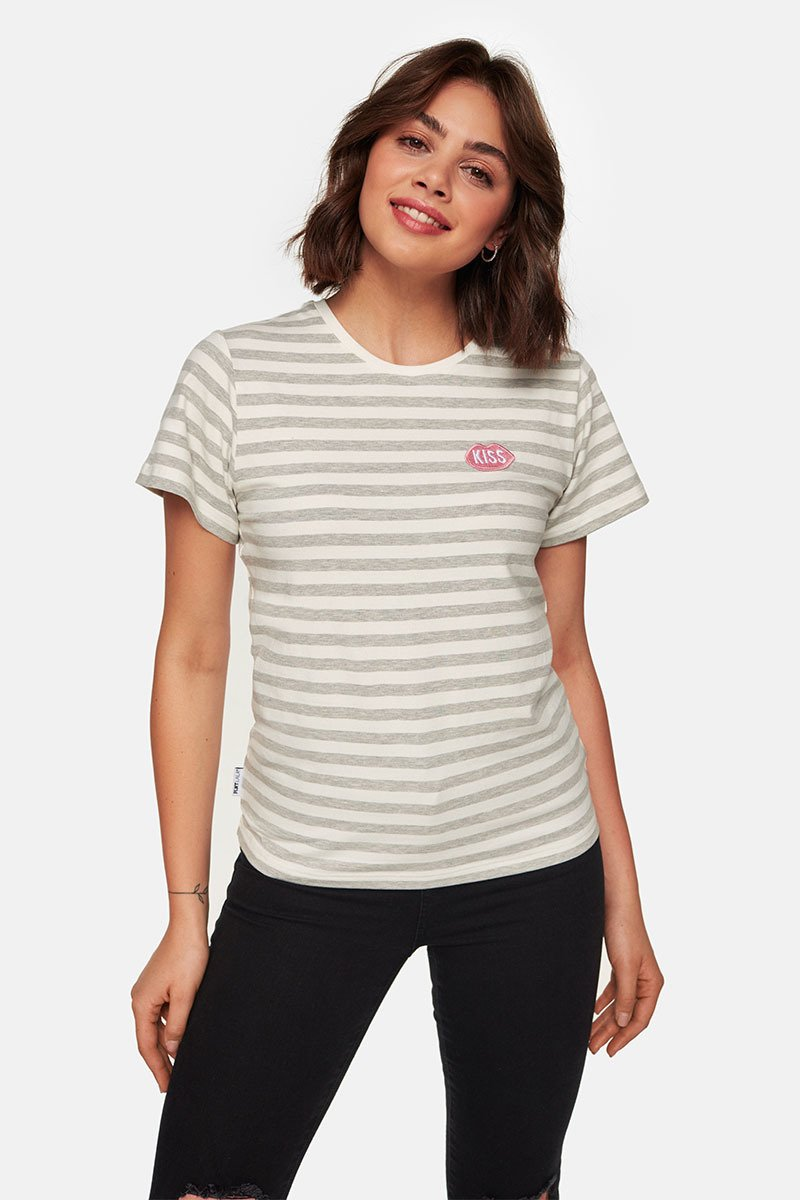 KISS French Fit Grey Stripes Tee