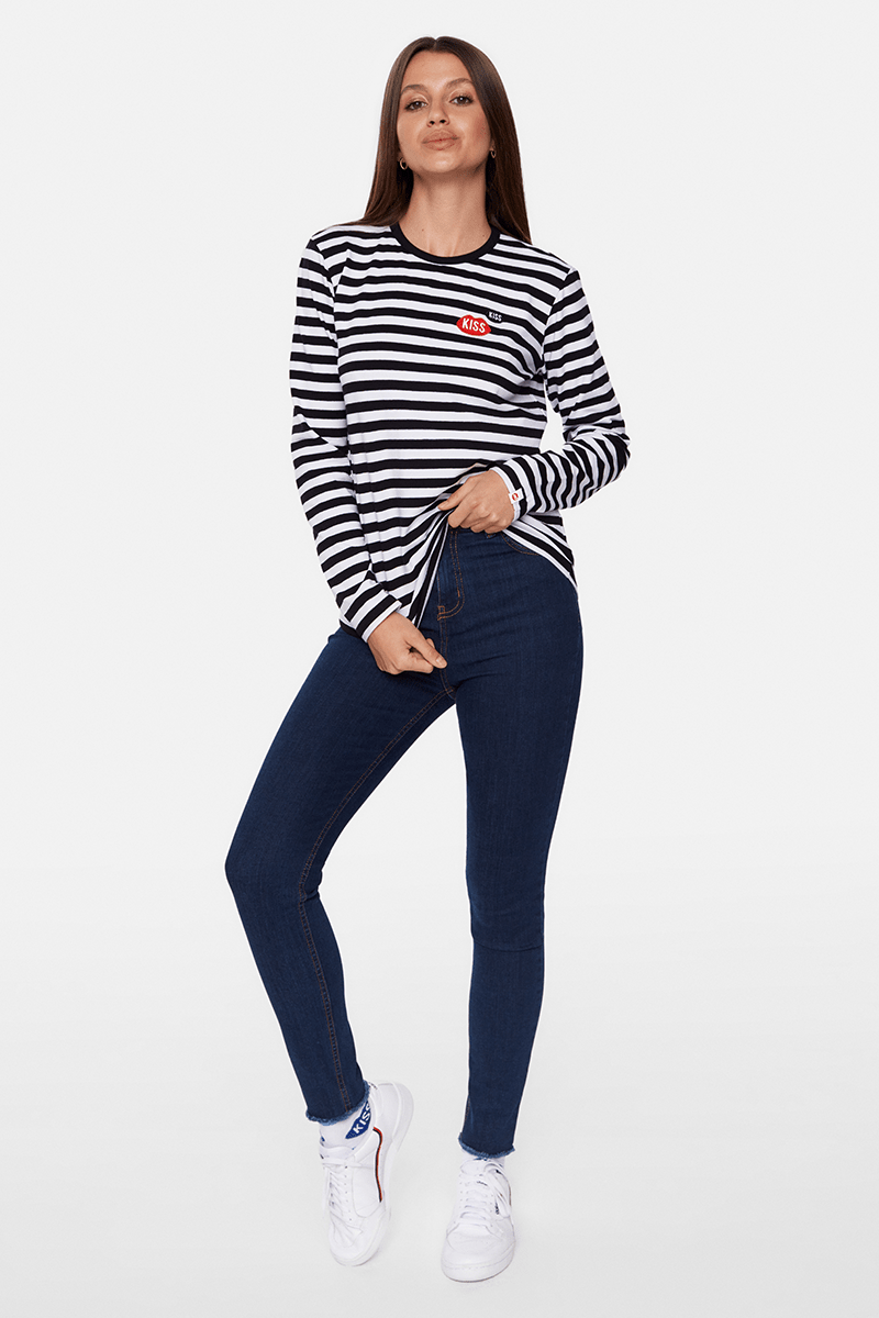 KISS KISS French Fit Black Stripes Longsleeve