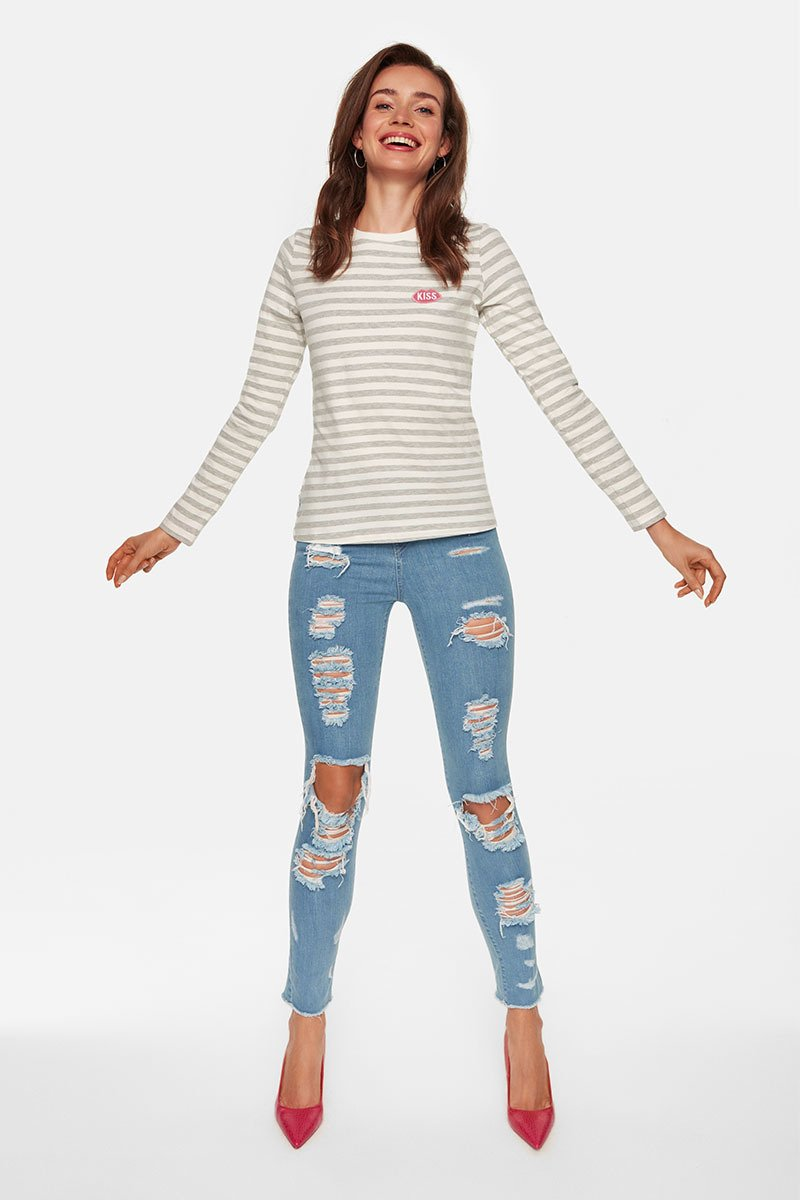 KISS Petite French Fit Grey Stripes Longsleeve