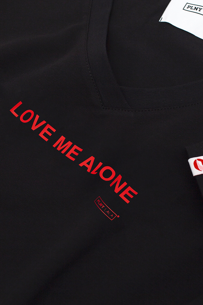 Love Me Alone V-neck Black Tee
