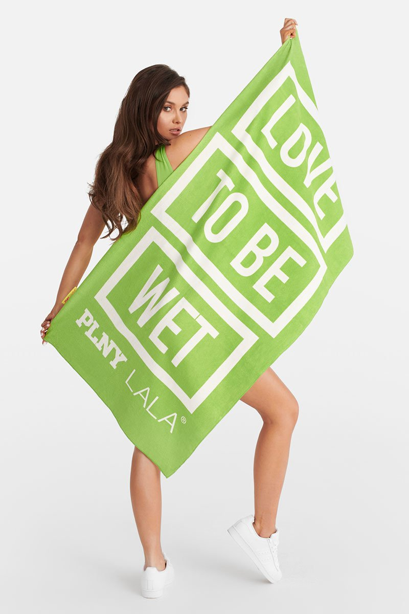 Love To Be Wet Green Towel