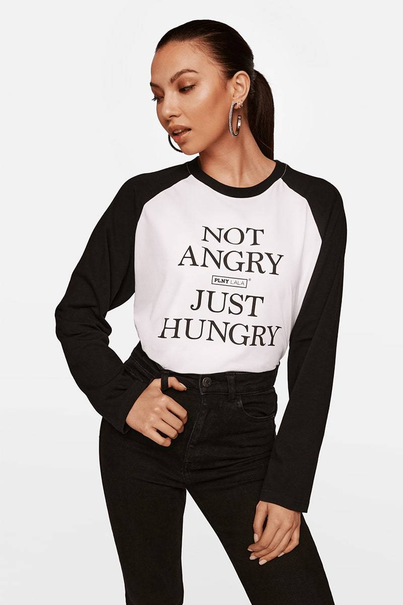 Not Angry Just Hungry Shirley White Longsleeve