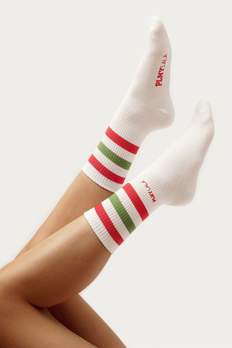 PLNY LALA Classic Green Red Striped Socks