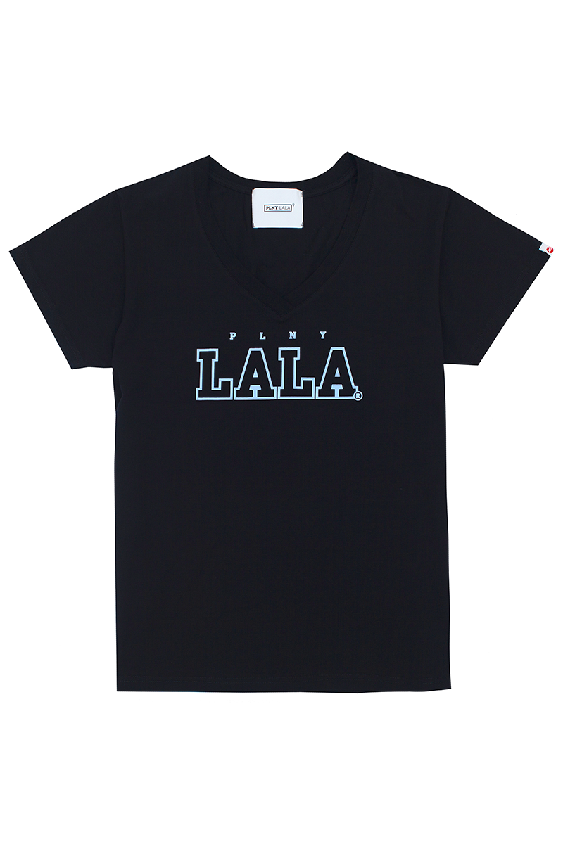PLNY LALA V-Neck Black Tee