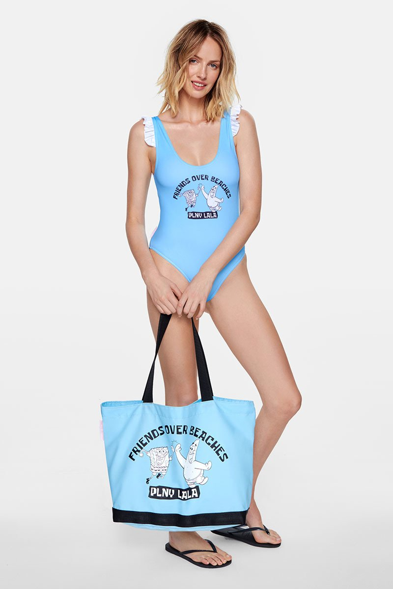 PLNY LALA x Spongebob Friends Over Beaches Blue Tote Bag