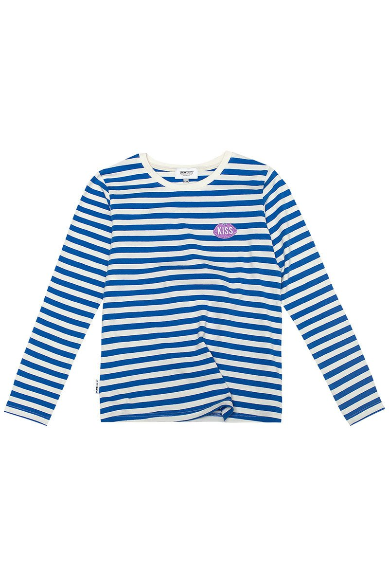 Petite KISS French Fit Blue Stripes Longsleeve