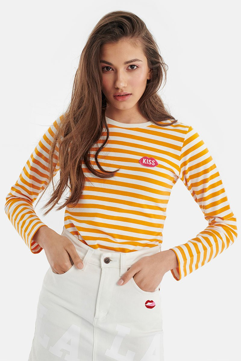 Petite KISS French Fit Heat Stripes Longsleeve
