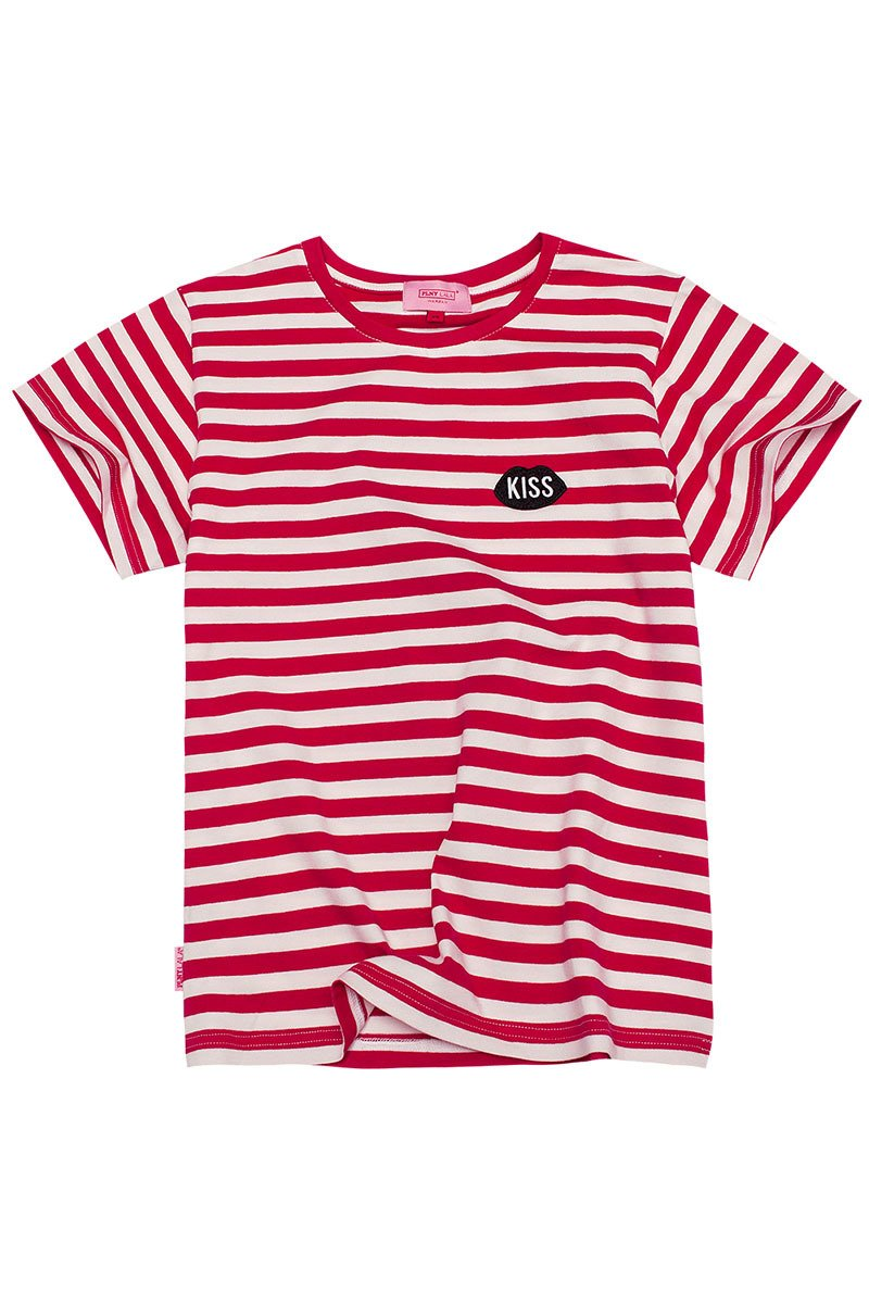 Petite KISS French Fit Red Stripes Tee