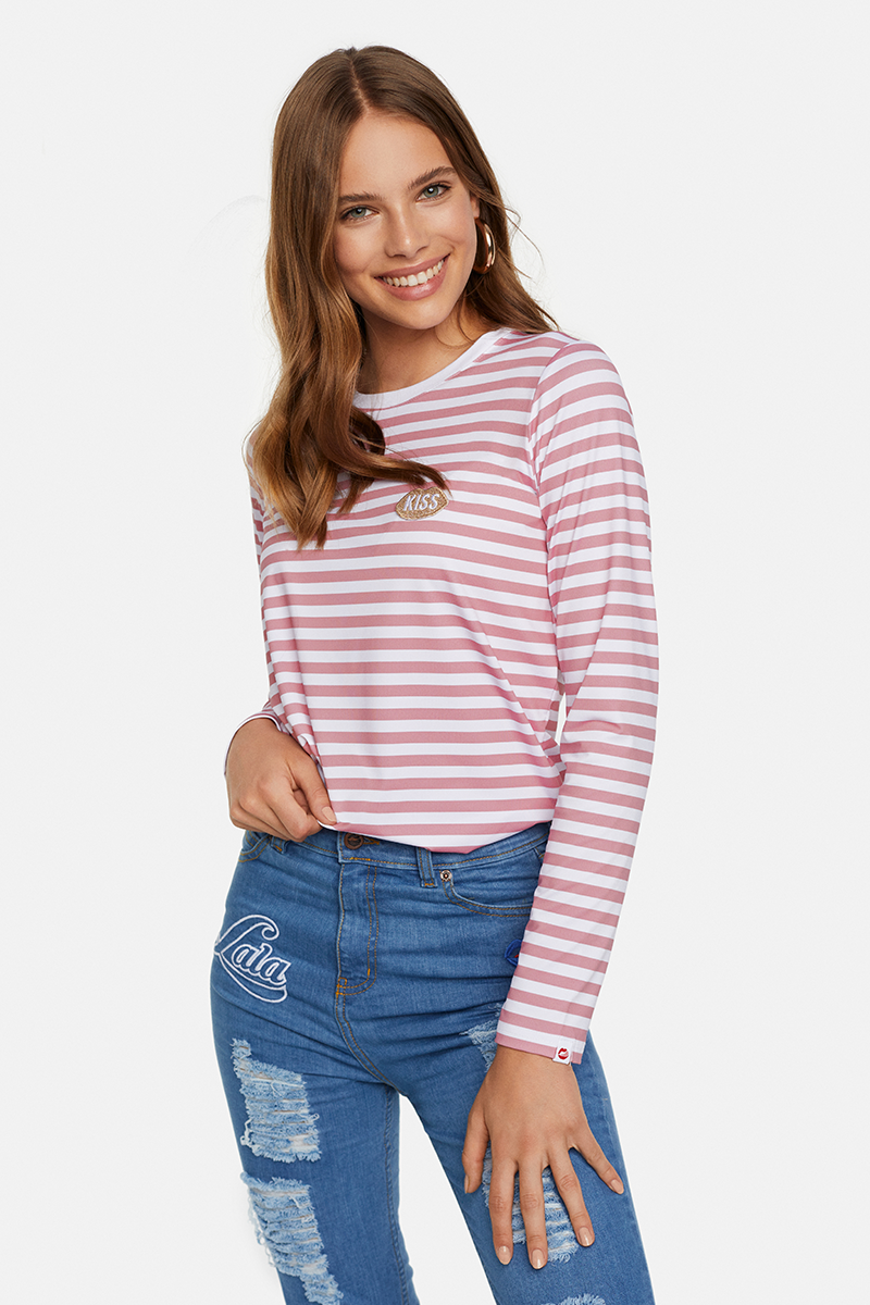 Petite KISS French Fit Rose Stripes Longsleeve