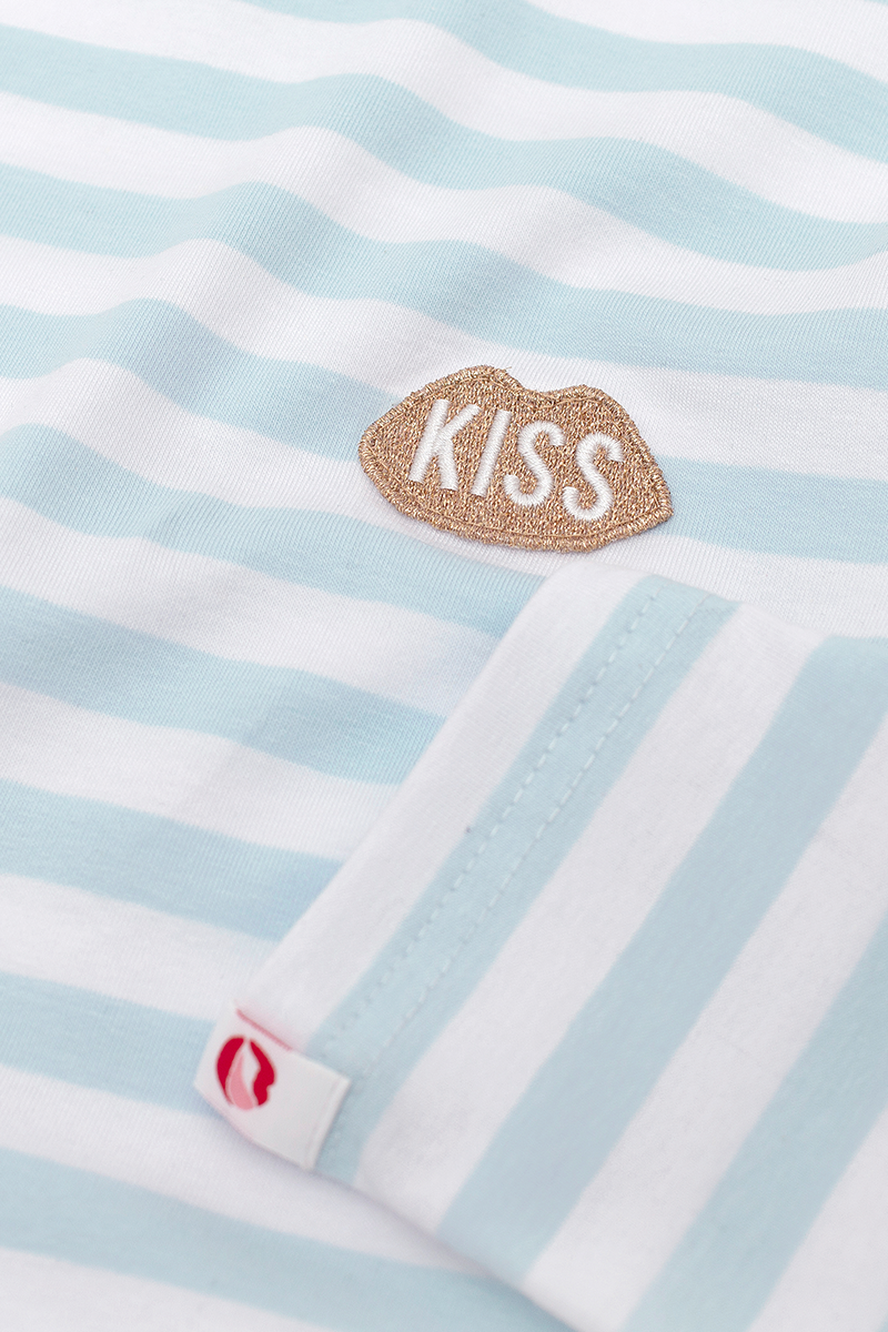 Petite KISS French Fit Steam Blue Stripes Longsleeve