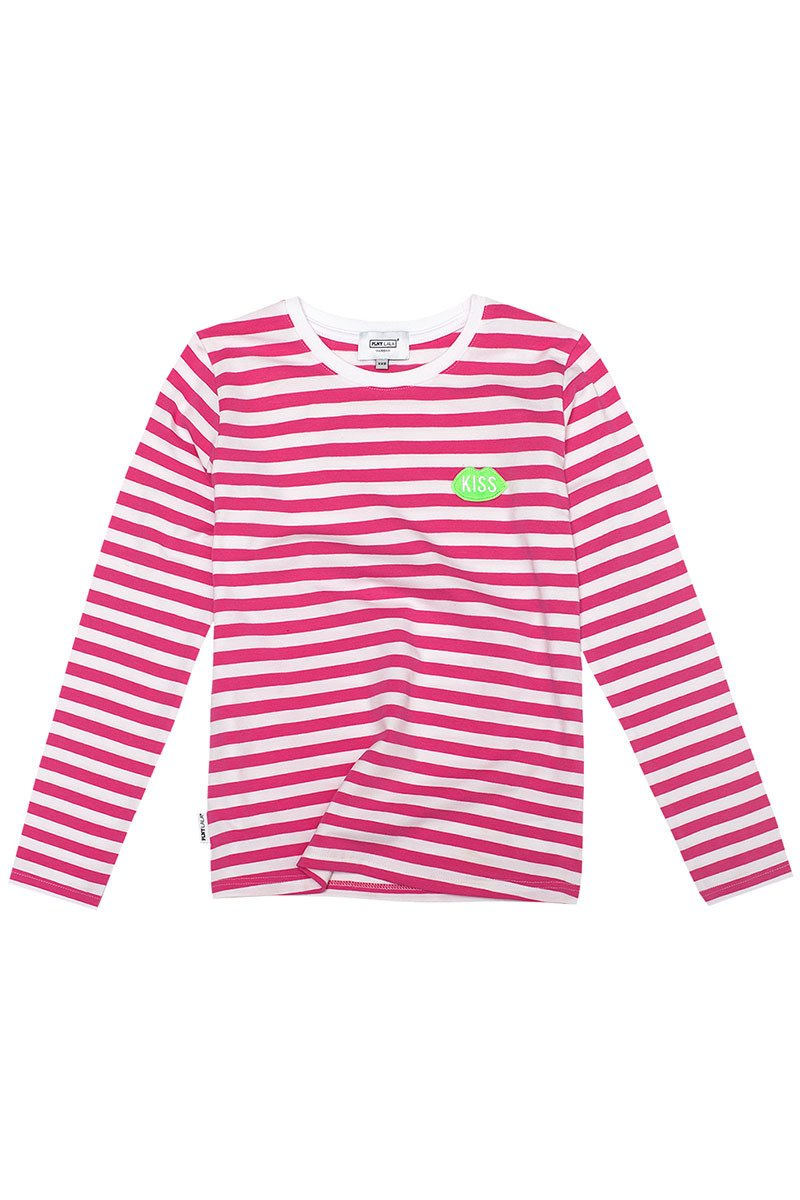 Petite KISS French Fit Very Pink Stripes Longsleeve