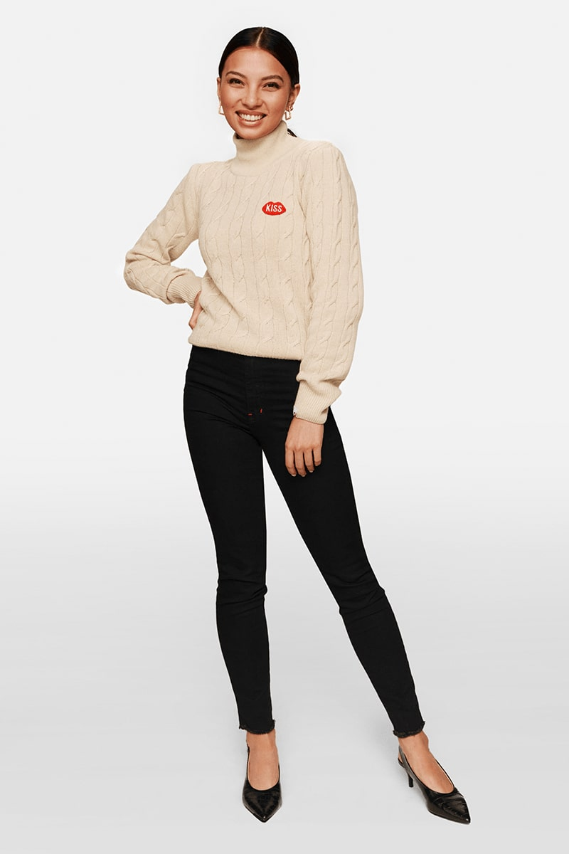 Petite KISS Turtleneck Caramel Sweater