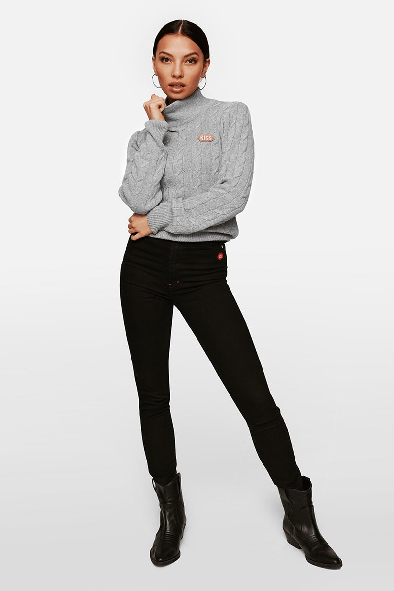 Petite KISS Turtleneck Grey Sweater