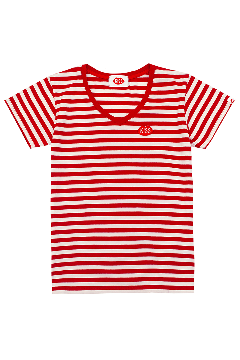 Petite KISS V-Neck Red Stripes Tee