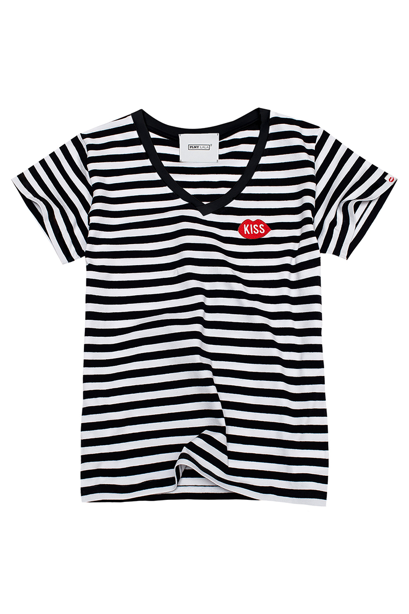 Petite KISS V-neck Black/White Stripes Tee