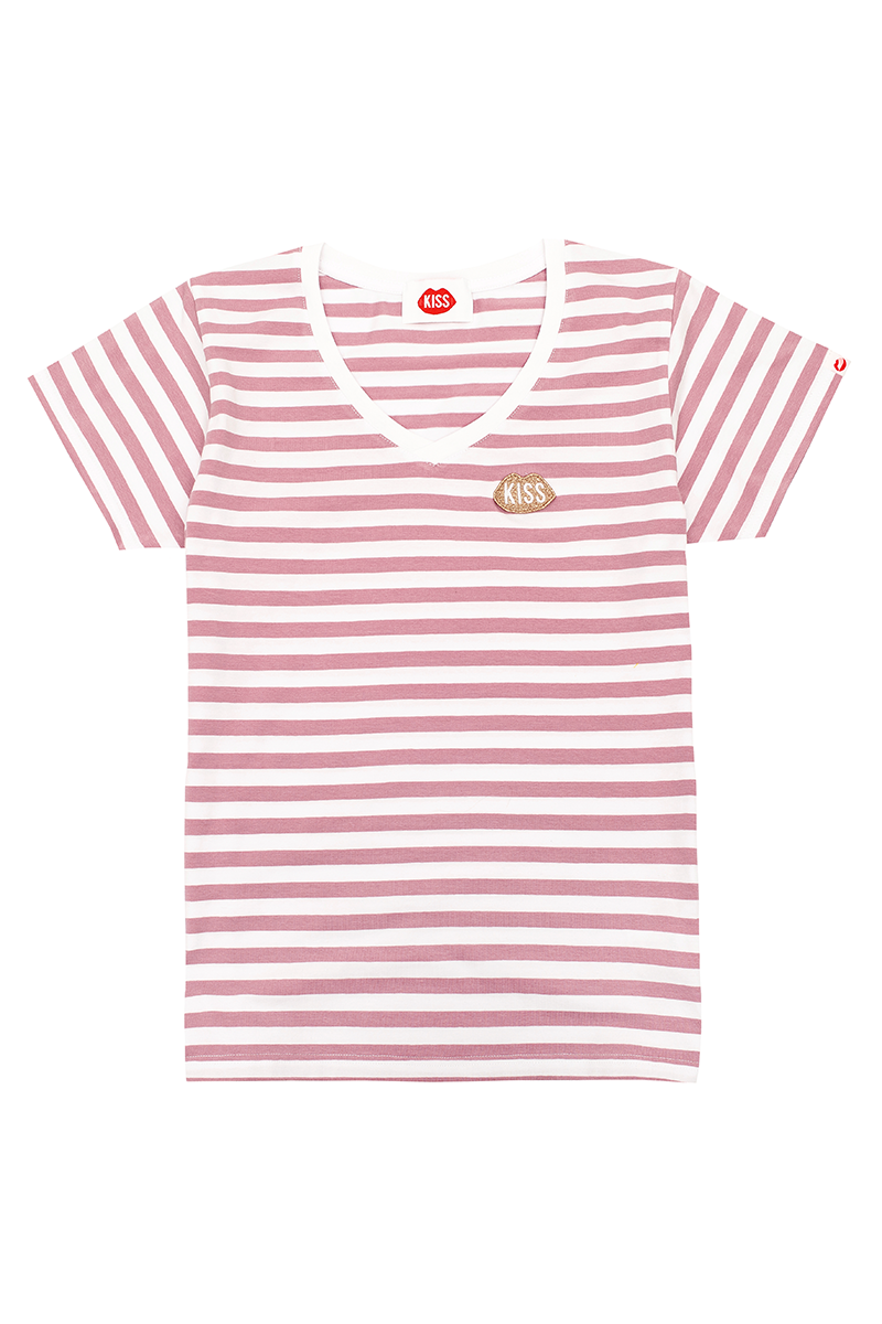 Petite KISS V-neck Rose Stripes Tee