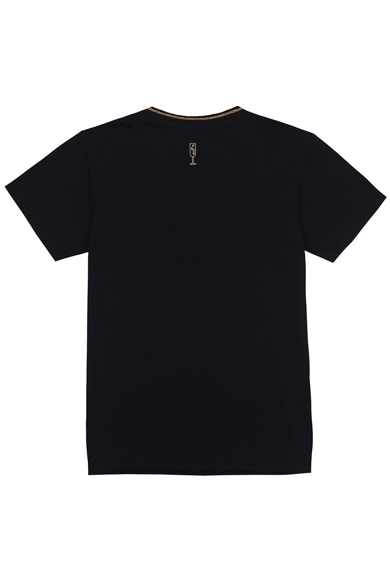 Prosecco French Fit Black Tee