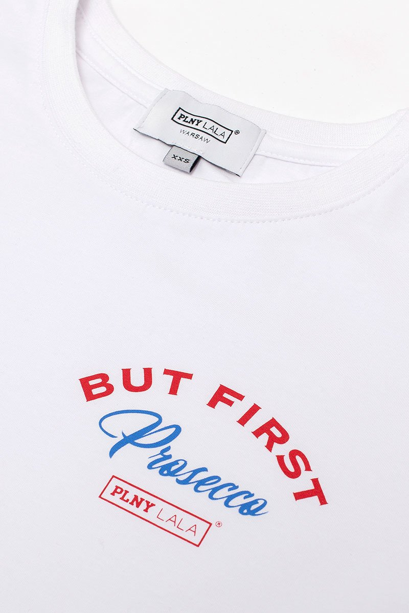 Prosecco French Fit White Tee