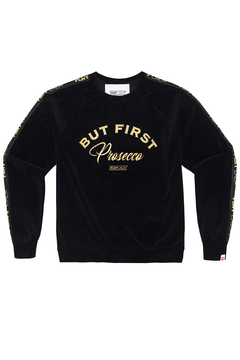 Prosecco Velour Black Sweatshirt