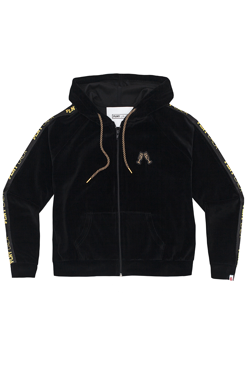 Prosecco Velour Black Zipped Hoodie