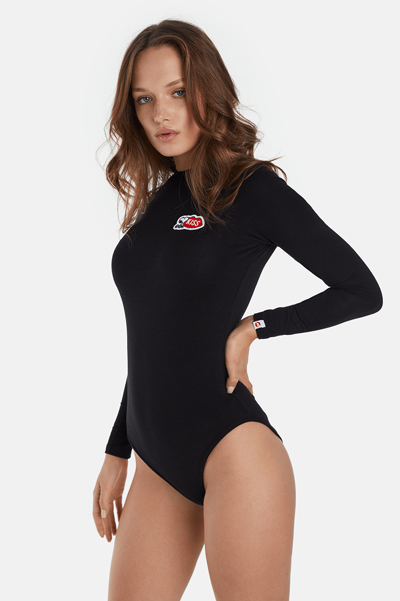 Snoopy KISS Classic Black Bodysuit