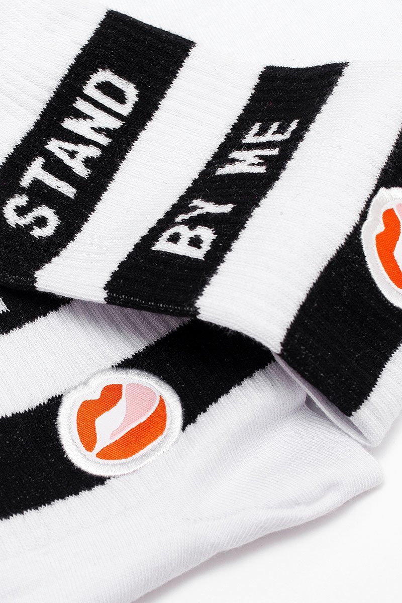 Stand By Me Striped Classic White Socks