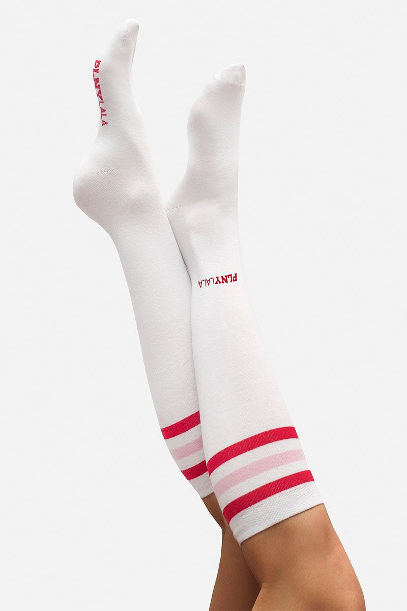 Stripes White Knee Socks